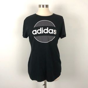 Adidas Black and White Go-To Tee Size Large